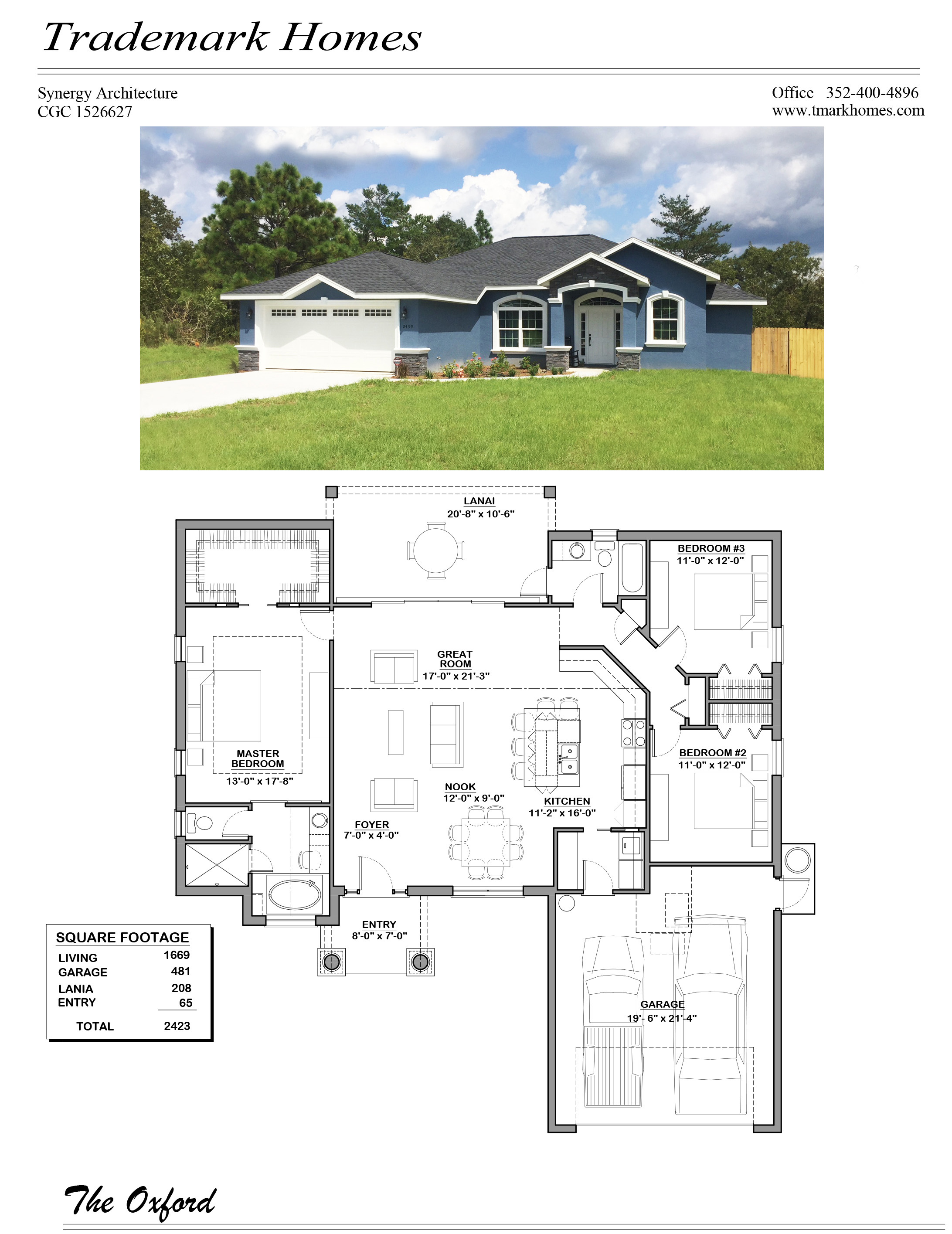 Oxford Model Home Floor Plan Trademark Homes Citrus County Pine
